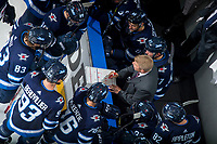 PENTICTON, CANADA - SEPTEMBER 9: The Winnipeg Jets bench against the Edmonton Oilers on September 9, 2017 at the South Okanagan Event Centre in Penticton, British Columbia, Canada.  (Photo by Marissa Baecker/Shoot the Breeze)  *** Local Caption ***