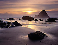 Sunset on Indian Beach Ecola State Park Oregon USA