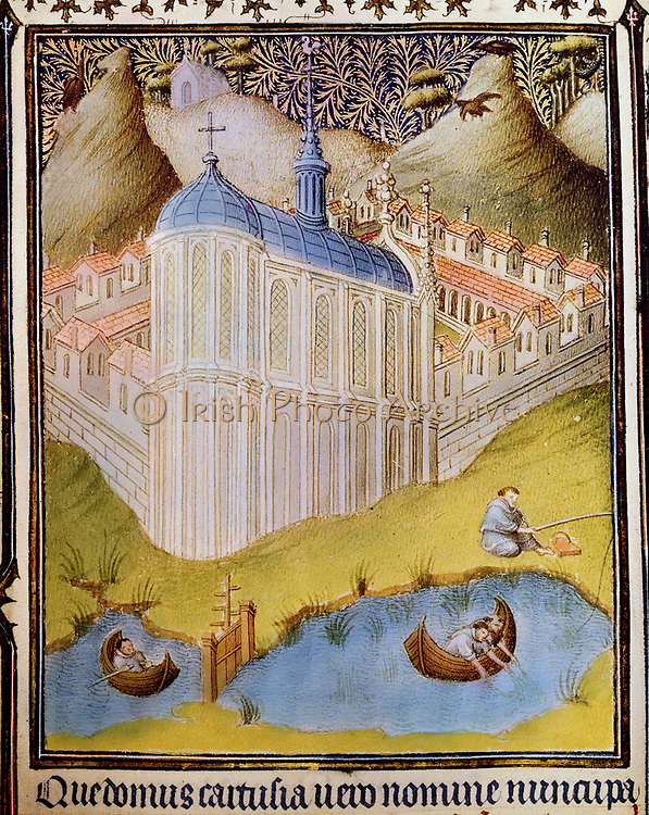 Carthusian monks netting and hooking fish in monastery fishponds, Chartreuse, founded by St Bruno of Cologne (11th century). Detail from Les Belles Heures du duc Jean de Berry. 15th century. manuscript