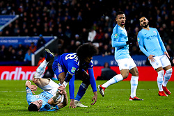Phil Foden of Manchester City is tackled by Hamza Choudhury of Leicester City - Mandatory by-line: Robbie Stephenson/JMP - 18/12/2018 - FOOTBALL - King Power Stadium - Leicester, England - Leicester City v Manchester City - Carabao Cup Quarter Finals