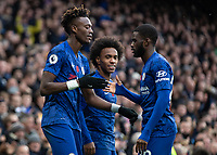 Football - 2019 / 2020 Premier League - Chelsea vs. Crystal Palace<br /> <br /> Tammy Abraham (Chelsea FC) and Fikayo Tomori (Chelsea FC) celebrate after scoring at Stamford Bridge <br /> <br /> COLORSPORT/DANIEL BEARHAM