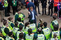 HRH Prince Harry talking with Marathon staff, volunteers and members of the armed forces after the Elite Womens race at the Virgin Money London Marathon , Sunday 26th April 2015.<br /> <br /> Dillon Bryden for Virgin Money London Marathon<br /> <br /> For more information please contact Penny Dain at pennyd@london-marathon.co.uk