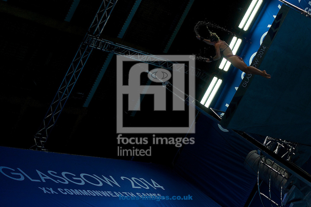 General view of a competitor pictured during the Women's 10 Metre Platform Final on Diving Day Two at Royal Commonwealth Pool during Glasgow 2014 Commonwealth Games <br /> Picture by Ian Wadkins/Focus Images Ltd +44 7877 568959<br /> 31/07/2014