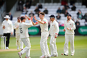 Lancashire's Kyle Jarvis celebrates the wicket of Somerset's Craig Overton during the Specsavers County Champ Div 1 match between Somerset County Cricket Club and Lancashire County Cricket Club at the County Ground, Taunton, United Kingdom on 3 May 2016. Photo by Graham Hunt.