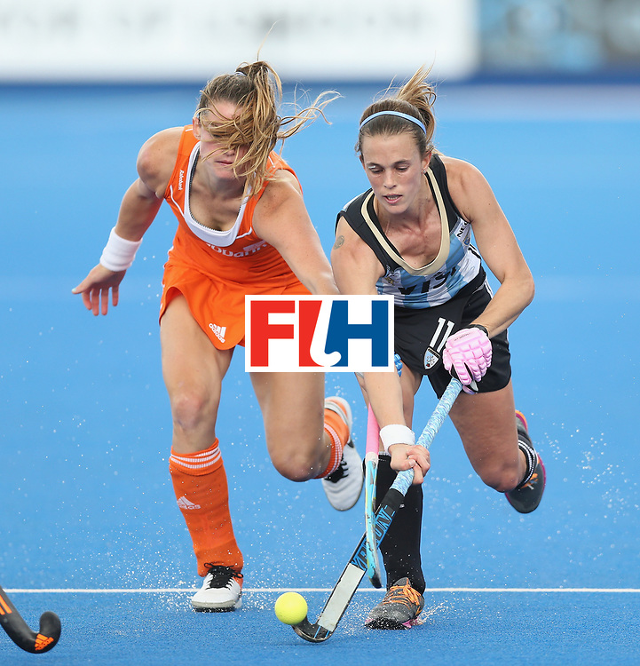LONDON, ENGLAND - JUNE 25:  Lidewij Welten of Netherlands and Carla Rebecchi of Argentina during the FIH Women's Hockey Champions Trophy match between Argentina and Netherlands at Queen Elizabeth Olympic Park on June 25, 2016 in London, England.  (Photo by Alex Morton/Getty Images)