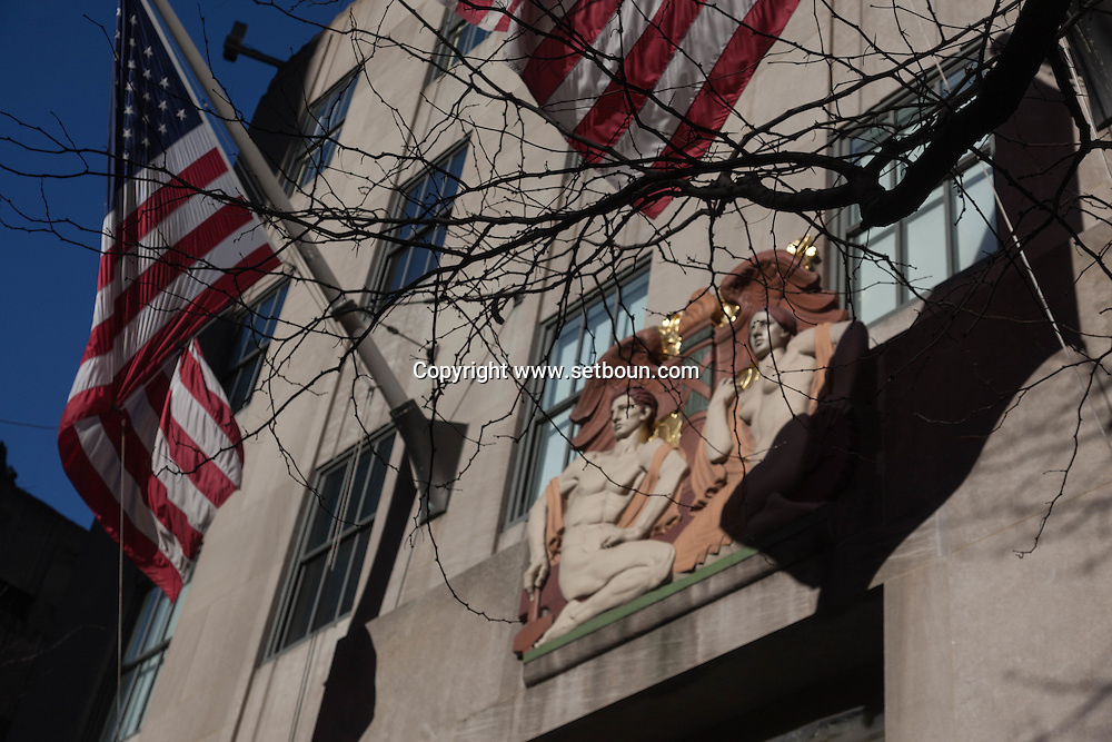 New York the facade of the Rockfeller center on fifth avenue, street life people, Manhattan  New york - United states