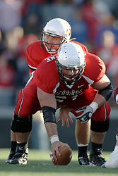 14 October 2006: Luke Drone and center Jonathan St-Pierre. The 6th largest crowd at Hancock Stadium came to watch a game that put 8th ranked Southern Illinois Salukis against 5th ranked Illinois State University Redbirds.  The Redbirds stole the show for a Homecoming win by a score of 37 - 10. Competition commenced at Hancock Stadium on the campus of Illinois State University in Normal Illinois.<br />