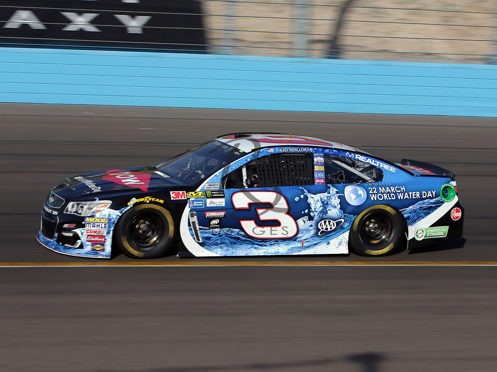 Austin Dillon qualifies for Sunday's NASCAR Cup Series auto race on Friday, March 17, 2017, in Avondale, Ariz.  (AP Photo/Rick Scuteri)