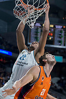 Real Madrid Walter Tavares and Valencia Basket Tibor Pleiss during Turkish Airlines Euroleague match between Real Madrid and Valencia Basket at Wizink Center in Madrid, Spain. December 19, 2017. (ALTERPHOTOS/Borja B.Hojas)