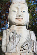 Gwanchoksa temple. The Eunjinmireuk, 19 meters high, wearing a strange crown and more than 1000 years old, is possibly South Korea's most extraordinary statue af Buddha.