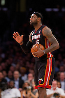 17 January 2013: Forward (6) LeBron James of the Miami Heat against the Los Angeles Lakers during the second half of the Heat's 99-90 victory over the Lakers at the STAPLES Center in Los Angeles, CA.