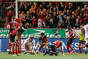 TRY Ulupano Seuteni of Oyonnax during the French Championship Top 14 Rugby Union match between US Oyonnax Rugby and Lyon OU on April 28, 2018 at Charles Mathon stadium in Oyonnax, France - Photo Romain Biard / Isports / ProSportsImages / DPPI
