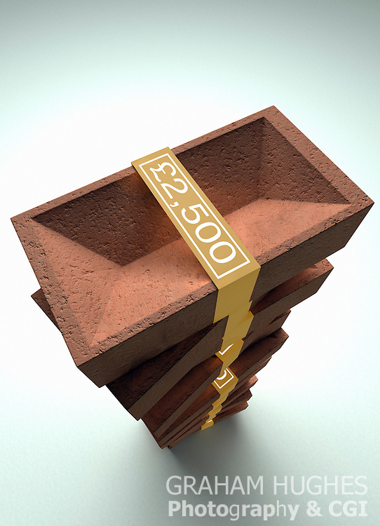 Large pile of building bricks with gold £2,500 money denomination tie around bricks.