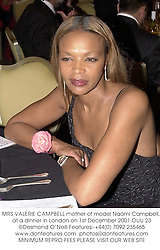 MRS VALERIE CAMPBELL mother of model Naomi Campbell, at a dinner in London on 1st December 2001.OUU 23