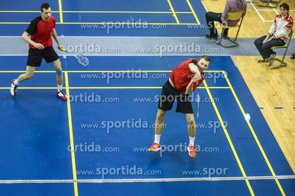 Iztok Utrosa and Miha Horvat (BK Mladost) during 58th Slovenian national championship in badminton on Februar 1, 2015 in Zg. Kungota, Slovenia. (Photo By Grega Valancic / Sportida)