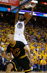 The Golden State Warriors' Kevin Durant (35) dunks the ball against the Cleveland Cavaliers' Richard Jefferson (24) in the second quarter of Game 5 of the NBA Finals at Oracle Arena in Oakland, Calif., on Monday, June 12, 2017. (Photo by Nhat V. Meyer/Bay Area News Group/TNS) *** Please Use Credit from Credit Field ***