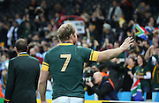South Africa's Schalk Burger saying goodbye to the fans during the Rugby World Cup Bronze Final match between South Africa and Argentina at the Queen Elizabeth II Olympic Park, London, United Kingdom on 30 October 2015. Photo by Matthew Redman.