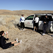 BISHOP, CA, January 19, 2008: Run Mammoth team runners wind down after a training session in Bishop, CA. The high altitude and clean air provide a picturesque and challenging training ground for the Olympic hopeful.