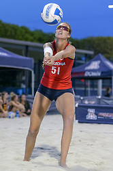 April 6, 2018 - Tucson, AZ, U.S. - TUCSON, AZ - APRIL 06: Arizona Wildcats blocker Hailey Devlin (51) hits the ball during a college beach volleyball match between the Arizona State Sun Devils and the Arizona Wildcats on April 06, 2018, at Bear Down Beach in Tucson, AZ. Arizona defeated Arizona State 4-1. (Photo by Jacob Snow/Icon Sportswire (Credit Image: © Jacob Snow/Icon SMI via ZUMA Press)