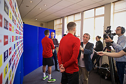 WREXHAM, WALES - Wednesday, June 5, 2019: Wales' Neil Taylor and Will Vaulks speak to the media at Glyndwr University ahead of the UEFA Euro 2020 Qualifying Group E match between Croatia and Wales. (Pic by David Rawcliffe/Propaganda)