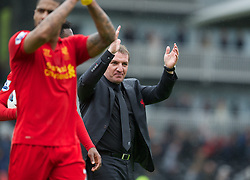 12.05.2013, Craven Cottage, London, ENG, Premier League, FC Fulham vs FC Liverpool, 37. Runde, im Bild Liverpool's manager Brendan Rodgers applauds the travelling supporters after his side's 3-1 victory over Fulham during during the English Premier League 37th round match between Fulham FC and Liverpool FC at the Craven Cottage, London, Great Britain on 2013/05/12. EXPA Pictures © 2013, PhotoCredit: EXPA/ Propagandaphoto/ David Rawcliffe..***** ATTENTION - OUT OF ENG, GBR, UK *****