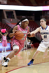 05 February 2016: Viria Livingston(23) heads inside defended by Jennifer Mackowiak. Illinois State University Women's Redbird Basketball team hosted the Sycamores of Indiana State for a Play4 Kay game at Redbird Arena in Normal Illinois.