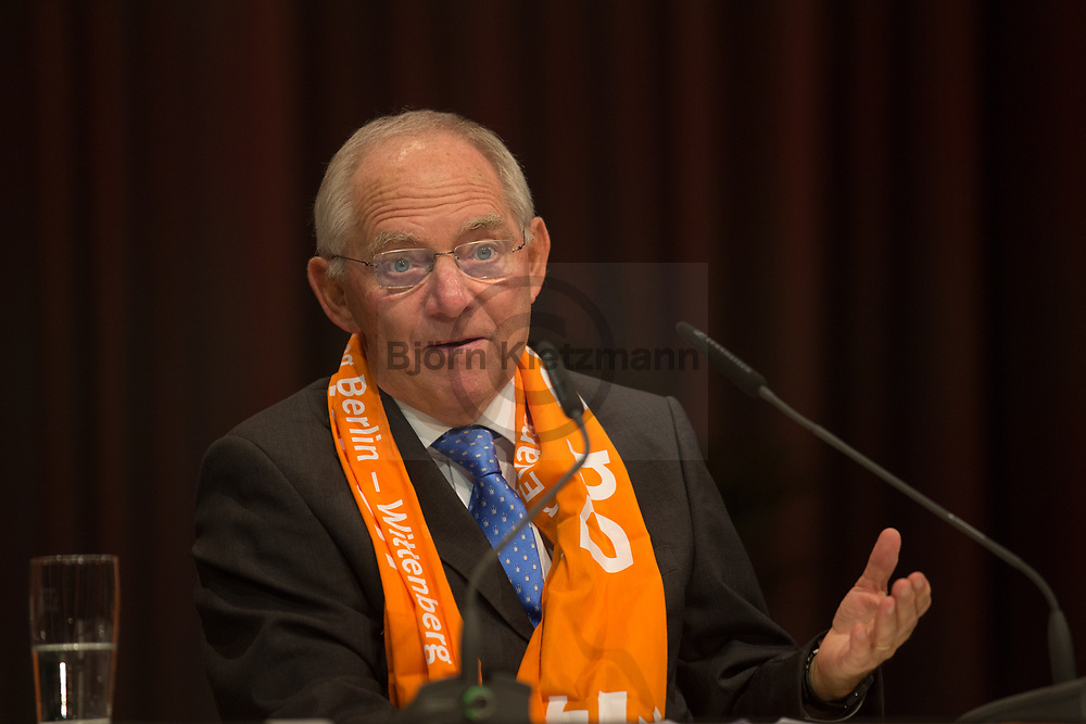 Berlin, Germany - 27.05.2017<br /> <br /> German Federal Minister of Finance Wolfgang Schaeuble. German Protestant Church Assembly (&quot;Deutscher Evangelischer Kirchentag&rdquo;) in Berlin. <br /> <br /> Deutscher Bundesfinanzminister Wolfgang Schaeuble. Deutscher Evangelischer Kirchentag 2017 in Berlin. <br /> <br /> Photo: Bjoern Kietzmann