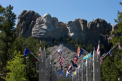 View of Mt. Rushmore with state flags from the United States, Mount Rushmore National Monument, South Dakota, United States of America