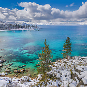 An image of Sand Harbor in winter on the east shore of Lake Tahoe in Nevada