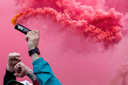 LILLE, FRANCE - Friday, July 1, 2016: Wales fans left of smoke grenade's in the centre of Lille ahead of the UEFA Euro 2016 Championship Quarter-Final match against Belgium at the Stade Pierre Mauroy. (Pic by Paul Greenwood/Propaganda)
