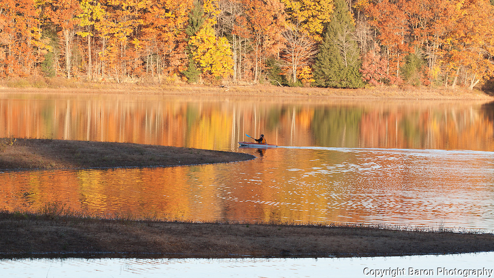 Kayaker on lake at Headwaters Park in Geuaga County