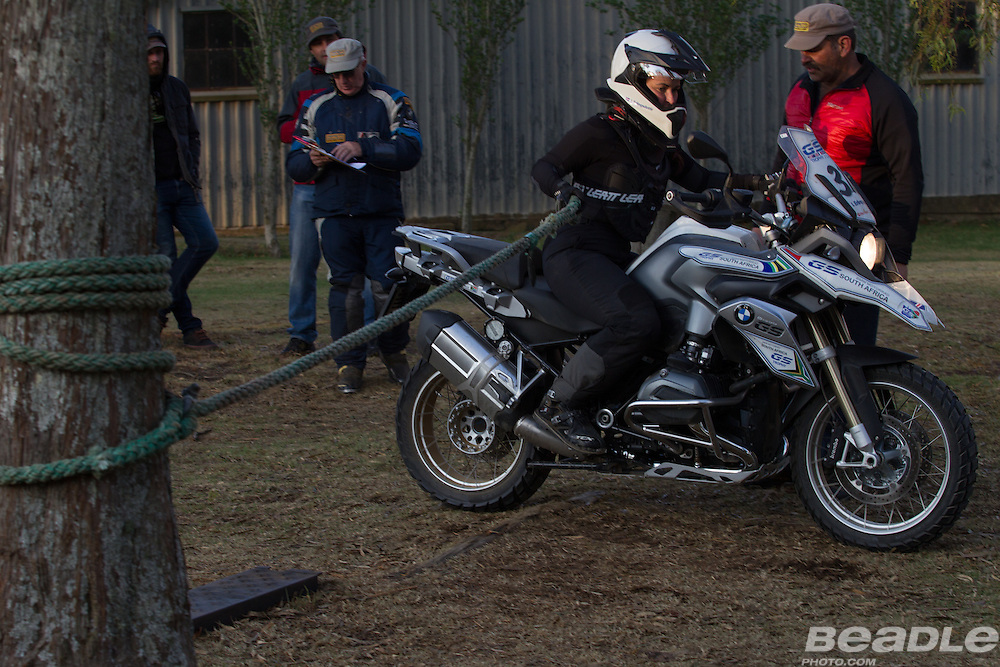 Iciar Tatay from Spain participating in the inaugural GS Trophy Female qualifying event at the 2015 BMW Motorrad GS Trophy Female Team Qualifying Event held at Countrytrax Amersfoort, South Africa. Image by Greg Beadle