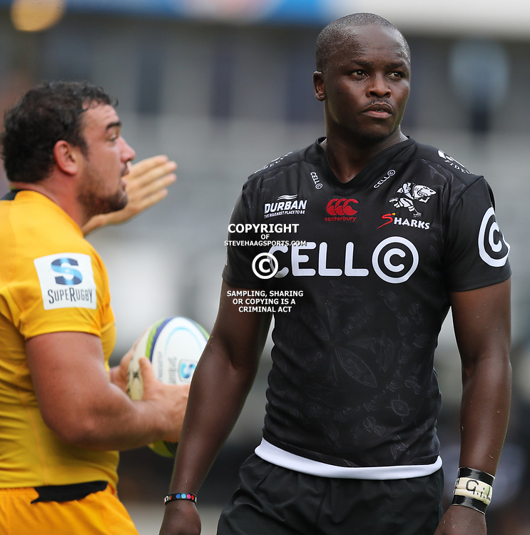 Tera Mtembu (c) of the Cell C Sharks during the Super Rugby match between the Cell C Sharks and the Jaguares  April 8th 2017 - at Growthpoint Kings Park,Durban South Africa Photo by (Steve Haag)