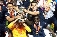 Victoire France - Bilal Boutobba / Alec Georgen / Nicolas Kocik / Issa Samba - 22.05.2015 - Allemagne / France - Finale Championnats d'Europe U17 - Burgas -Bulgarie<br />Photo : Aleksandar Djorovic / Icon Sport
