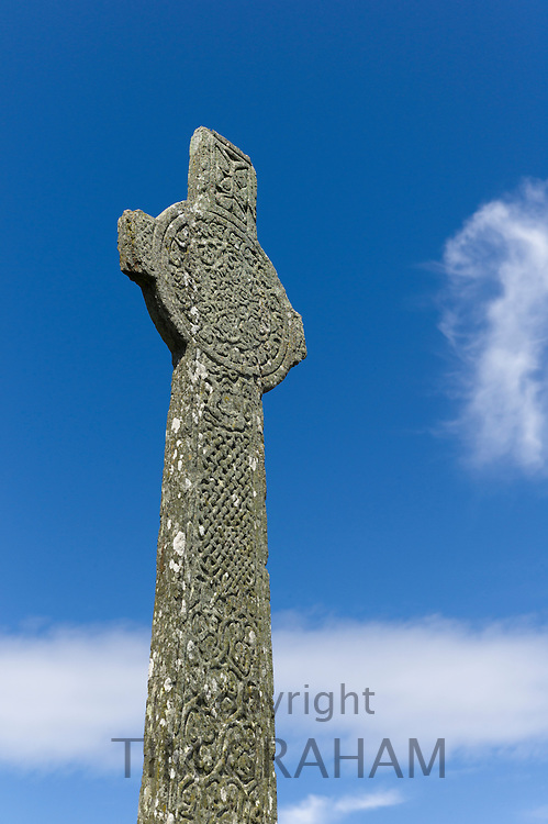 Maclean's medieval celtic pilgrim cross 16th Century monument on Isle of Iona in the Inner Hebrides and Western Isles, West Coast of Scotland