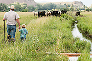 Father and son irrigating pasture on a ranch in Salmon, Idaho.