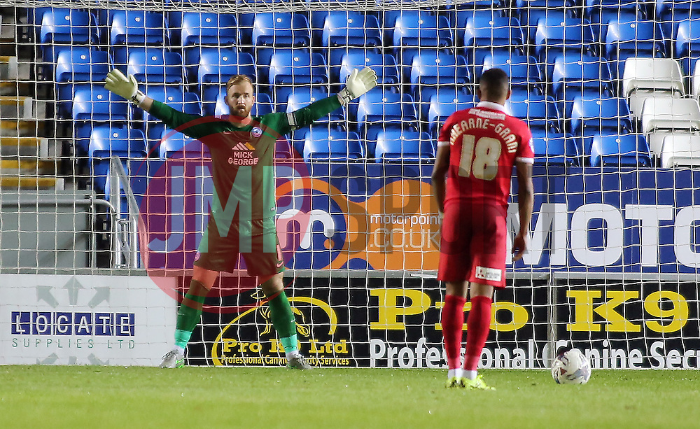 Ben Alnwick of Peterborough United prepares to face a penalty from Karlan Ahearne-Grant of Charlton Athletic - Mandatory byline: Joe Dent/JMP - 07966386802 - 25/08/2015 - FOOTBALL - ABAX Stadium -Peterborough,England - Peterborough United v Charlton Athletic - Capital One Cup - Second Round