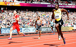 LONDON, Aug. 12, 2017  Zhang Peimeng (1st L) of Team China competes with Usain Bolt (1st R) of Team Jamaica during Men's 4x100m Relay Heats on Day 9 of the 2017 IAAF World Championships at London Stadium in London, Britain, on Aug. 12, 2017. (Credit Image: © Wang Lili/Xinhua via ZUMA Wire)