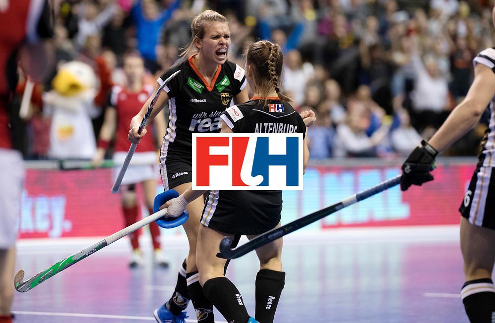 BERLIN - Indoor Hockey World Cup<br /> Quarterfinal 3: Germany - Poland<br /> foto: Lisa ALtenburg celebrates with Anne Schroeder.<br /> WORLDSPORTPICS COPYRIGHT FRANK UIJLENBROEK