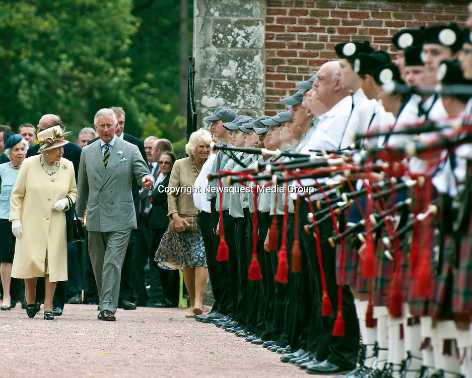 Picture Christian Cooksey. The opening of the Queen Elizabeth Walled Garden at Dumfries House. HRH Queen Elizabeth and HRH Prince Charles the Duke of Rothesay  arrives in the garden