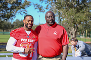 Jan 25, 2019; Kissimmee, FL, USA; Los Angeles Chargers Safety Adrian Phillips (31) and special teams coach Keith Burns after the NFC team photo for the 2019 Pro Bowl at ESPN Wide World of Sports Complex. (Kim Hukari/Image of Sport)
