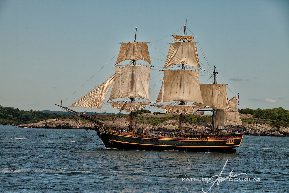 HMS Bounty during Neport, Rhode Island Tall Ship parade of sail.  This replica of the HMS Bounty was built for the movie Mutiny on the Bounty starring Marlon Brando and later used in the movie Pirates of the Caribbean starring Johnny Depp.