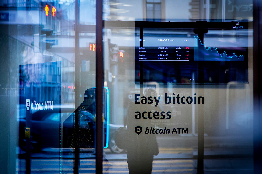 A bitcoin ATM at the Falcon Private Bank in Zurich. Zurich is by far the biggest city in Switzerland, with a population near 1.83 million in the metropolitan area. It is also the finacial center in Switzerland.