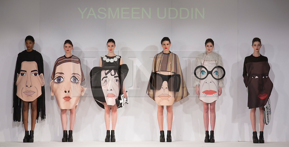 © Licensed to London News Pictures. 31/05/2015. London, UK. Collection by Jasmeen Uddin. Fashion show of the University of East London (UEL) at Graduate Fashion Week 2015. Graduate Fashion Week takes place from 30 May to 2 June 2015 at the Old Truman Brewery, Brick Lane. Photo credit : Bettina Strenske/LNP