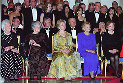 """The President's House: A Bicentennial Tribute"" composed by John Tatgenhorst is performed for the first time by the United States Marine Band at the 200th Anniversary of the White House Dinner in Washington, DC, USA,, USA on November 9, 2000.  Watching the performance from left to right in the front row are: Former first lady Barbara Bush, former first lady Lady Bird Johnson, first lady Hillary Rodham Clinton, former first lady Betty Ford, and former first lady Rosalynn Carter.  Seated behind the first ladys are, from left to right: former U.S. President George H.W. Bush, U.S. President Bill Clinton, former U.S. President Gerald R. Ford, and former U.S. President Jimmy Carter.  Chelsea Clinton is standing behind President Clinton.<br /> Photo by Ron Sachs/CNP/ABACAPRESS.COM  