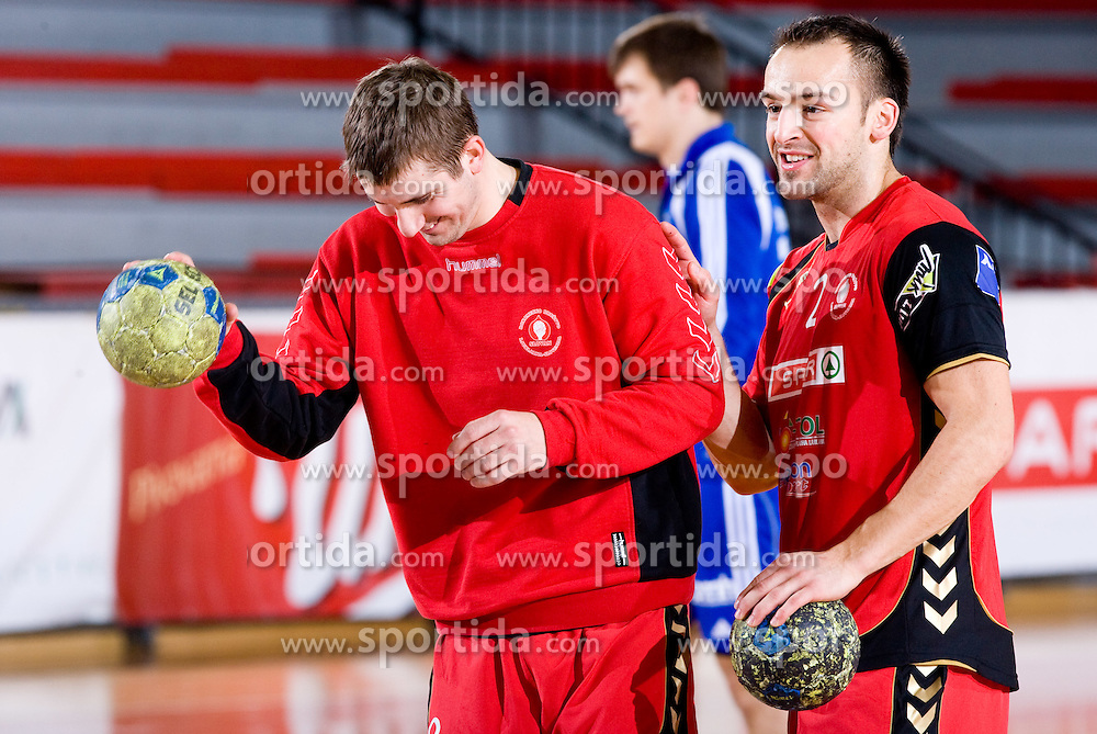 Ales Smejc of Slovan  and Boris Becirovic of Slovan  during the 1/ 8 Men's European Handball Challenge Cup match between RD Slovan, Slovenia and Ystads IF, Sweden, on February 21, 2009 in Arena Kodeljevo, Ljubljana, Slovenia. Slovan defeated Ystads 37-27 and qualified to quarterfinals. (Photo by Vid Ponikvar / Sportida)