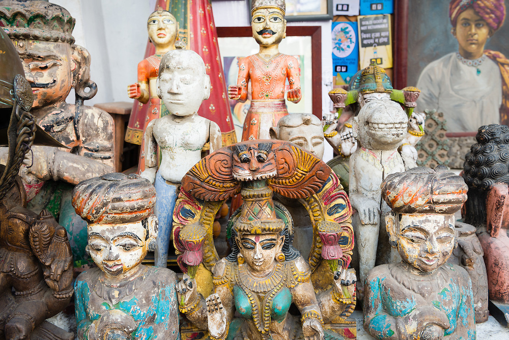 Miniature statues of Hindu gods for sale in old town Udaipur