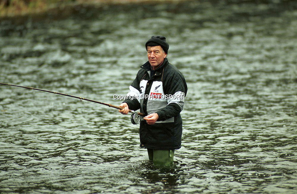 All Blacks coach Laurie Mains, Fishing 1993. Photo: PHOTOSPORT