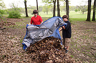 Brian Daigle, 12 (left) and Andy Bowser, 13 during a cleanup of the Victory Oak Knoll Memorial near the entrance of Dayton's Community Golf Course (at the edge of Kettering) by Boy Scout Troop 193, Saturday, May 7, 2011.
