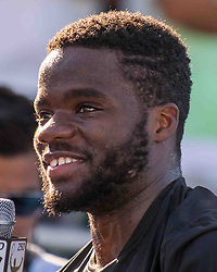February 25, 2018 - Delray Beach, FL, US - FRANCIS TIAFOE (US) won the Delray Beach Open Men's Single Final at the Delray Beach Tennis Stadium. TIAFOE beat PETER GOJOWCZYK (Ger) 6-1, 6-4. (Credit Image: © Arnold Drapkin via ZUMA Wire)